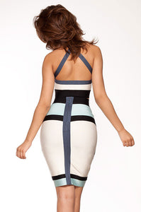 Patchwork Halter High-waisted Bandage Skirt Set
