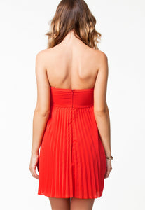 Orange Pleated Bandeau Padded Style Evening Dress