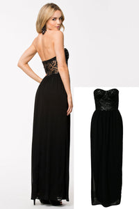 Black Bustier Party Cocktail Evening Maxi Gown