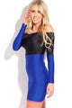 Shiny Black Blue off Shoulder Mini Dress