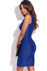 Royal Blue Front Keyhole Crossover Neck Bodycon Dress