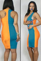 Orange Blue Block Plunging Neck Bodycon Dress