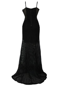 Black Mesh Overlay Spliced Sleeveless Evening Dress