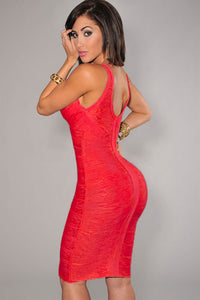Red V-neck Foil Detail Crisscross Bandage Dress