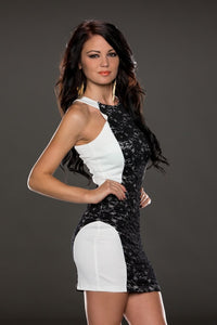 Charismatic Lace over Panelling White Vintage Dress