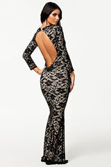 Fully Lined Black Lace Evening Dress