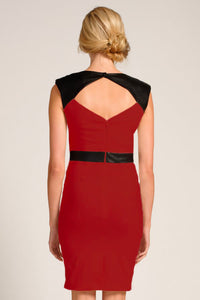 Red Black V Neck-line Bodycon Dress With Waterfall Details