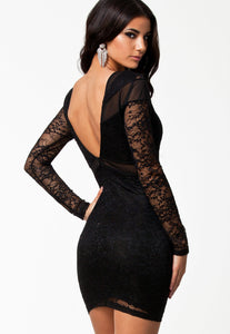 Black Lace&Mesh Patchwork Sexy Bodycon Dress