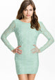 Fresh Cyan Backless Lace Club Dress