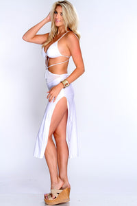White Daring Strappy Cutout Sleeky Club Dress