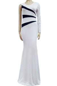 White Black One Sleeve Side Striped Evening Dress
