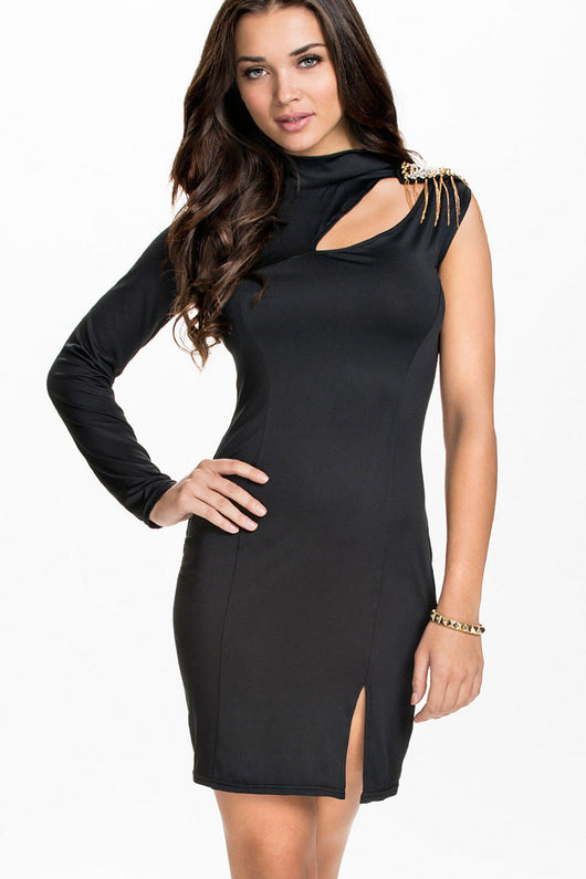 One Sleeved Little Black Club Dress with Slit