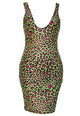 Sexy Bodycon Scoop Neck Leopard Club Dress