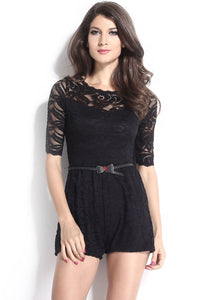 Half Sleeved Belt Accessorized Black Lace Jumpsuit