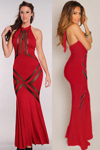 Glam Red Mesh Pattern Hourglass Evening Dress