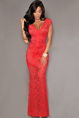 Red Lace Nude Illusion Low Back Evening Dress