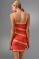 Color Block V Neck Orange Bandage Dress
