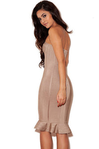 Strapless Nude Fishtail Party Bandage Dresses