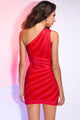Red One-shoulder Thigh High Bandage Dress
