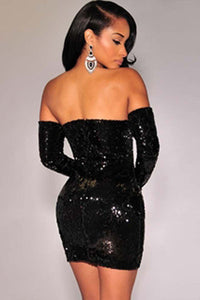 Black Sequins Off-the-shoulder Club Dress
