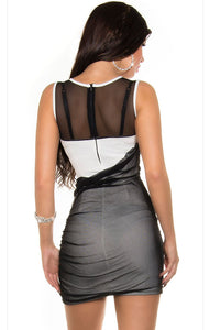 Black White Mesh Sequined Bodycon Dress