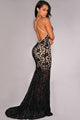 Black Lace Nude Illusion Crisscross Back Evening Dress