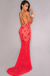 Red Lace Nude Illusion Crisscross Back Evening Dress