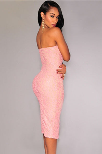 Pink Lace Strapless Padded Knee Length Evening Dress