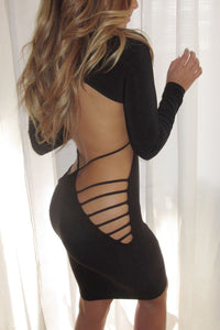 Raven Open Back Cut Out Club Bodycon Dress