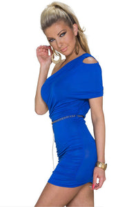 Blue Cut-out One-shoulder Plicated Bodycon Dress