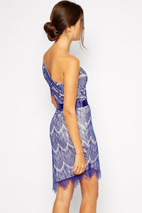 Blue One Shoulder Lace Party Dress