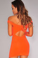 Orange Off The Shoulder Cut-Out Dress