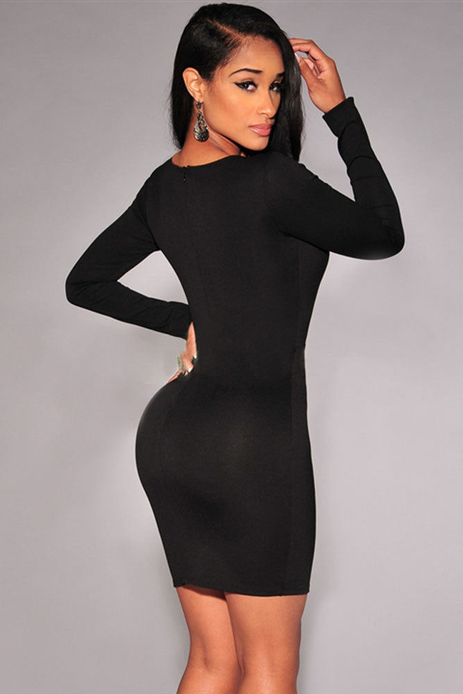 e405a492f024 Black Long Sleeve Plunge Bodycon Dress – SEXY AFFORDABLE CLOTHING