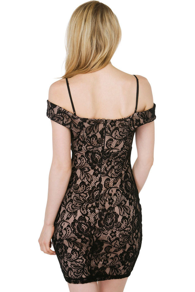 d1d08ee80 Black Lace Nude Illusion Off-shoulder Mini Dress – SEXY AFFORDABLE ...
