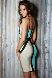 White Cutout Bandage Dress with Black Lines