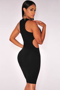 Black Peep Hole Cut out Sides Dress