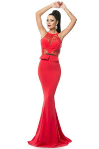 Red Lace Embellished Mermaid Evening Dress