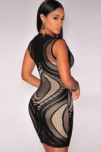 Black Optical Lace Nude Illusion Sleeveless Bodycon Dress