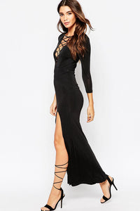 Sexy Lace-up V Neck Maxi Evening Dress