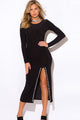 Black Bejeweled High Slit Long Sleeve Party Maxi Dress