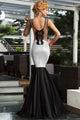 Silver Sequin Applique Evening Party Mermaid Dress