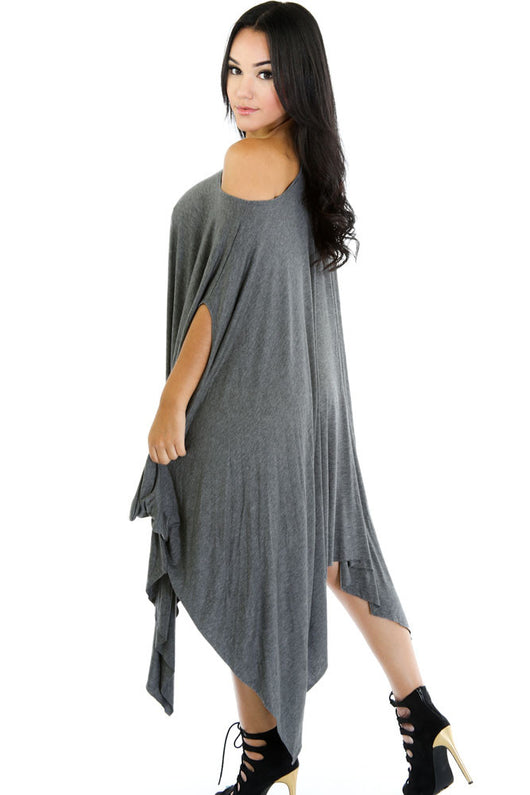 Grey Asymmetrical Draped Tunic Dress
