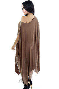 Dark Khaki Asymmetrical Draped Tunic Dress