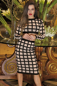 2pcs Nude Sheer Mesh Grid Bandage Dress
