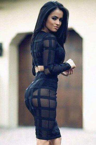 2pcs Black Sheer Mesh Grid Bandage Dress