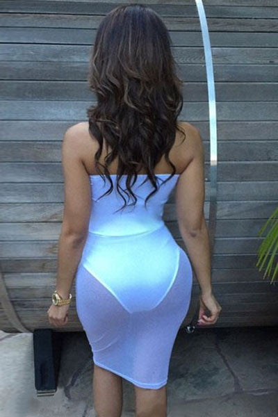 White Mesh Tube Dress with High Waist Bottom