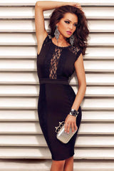 Black Lace Decor Chained Sexy Backless Evening Dress