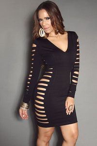 Black Long Sleeve V Neck Laser Cutouts Sexy Clubbing Dress