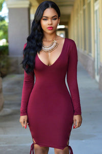 Burgundy Sexy V Neck Lace Up Sides Bodycon Dress
