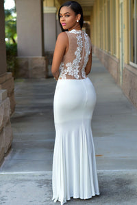 White Lace Nude Mesh Evening Maxi Dress